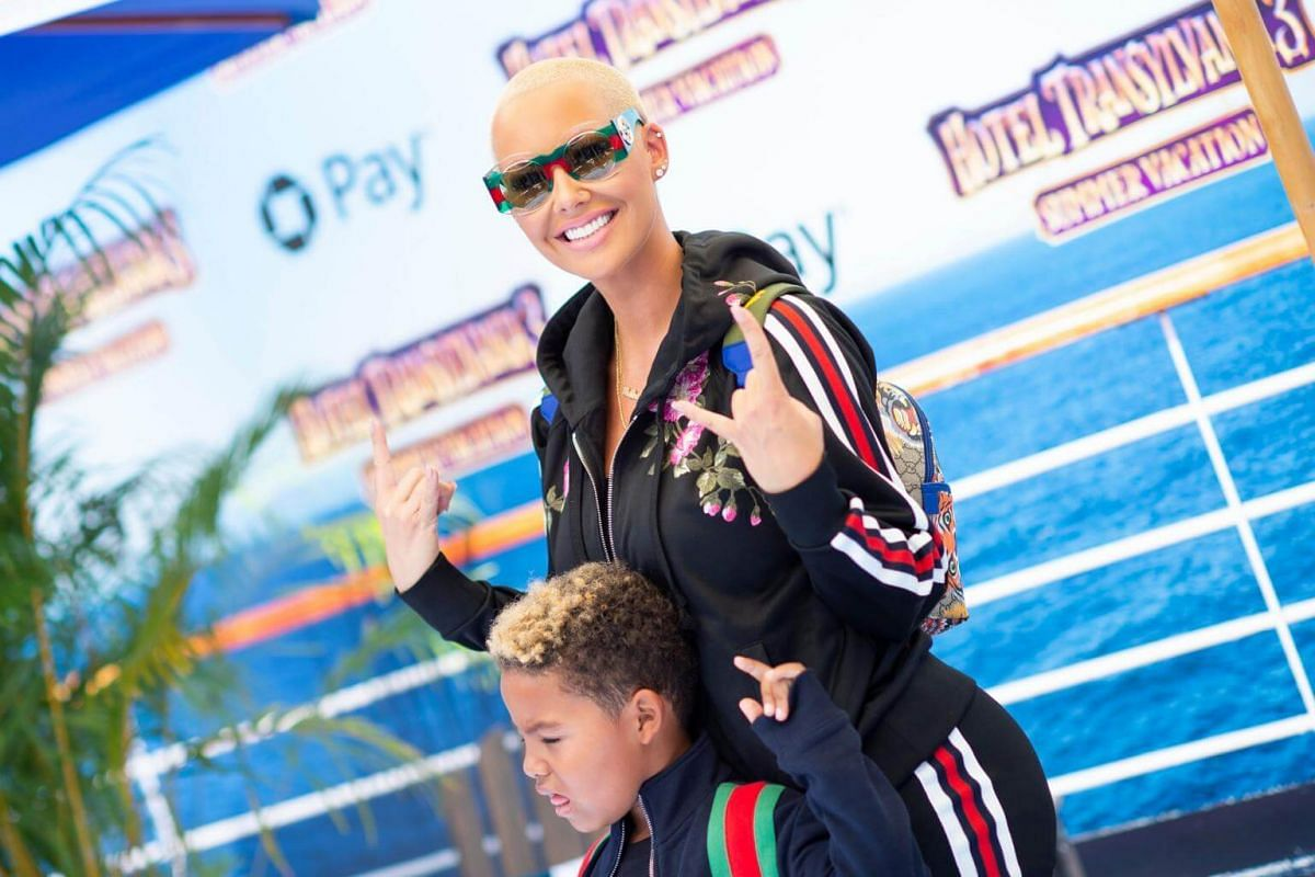 Amber Rose and son Sebastian Taylor Thomaz attend the world premiere of Hotel Transylvania 3: Summer Vacation on June 30, 2018.