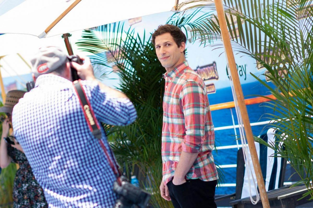 Andy Samberg attends the world premiere of Hotel Transylvania 3: Summer Vacation on June 30, 2018.