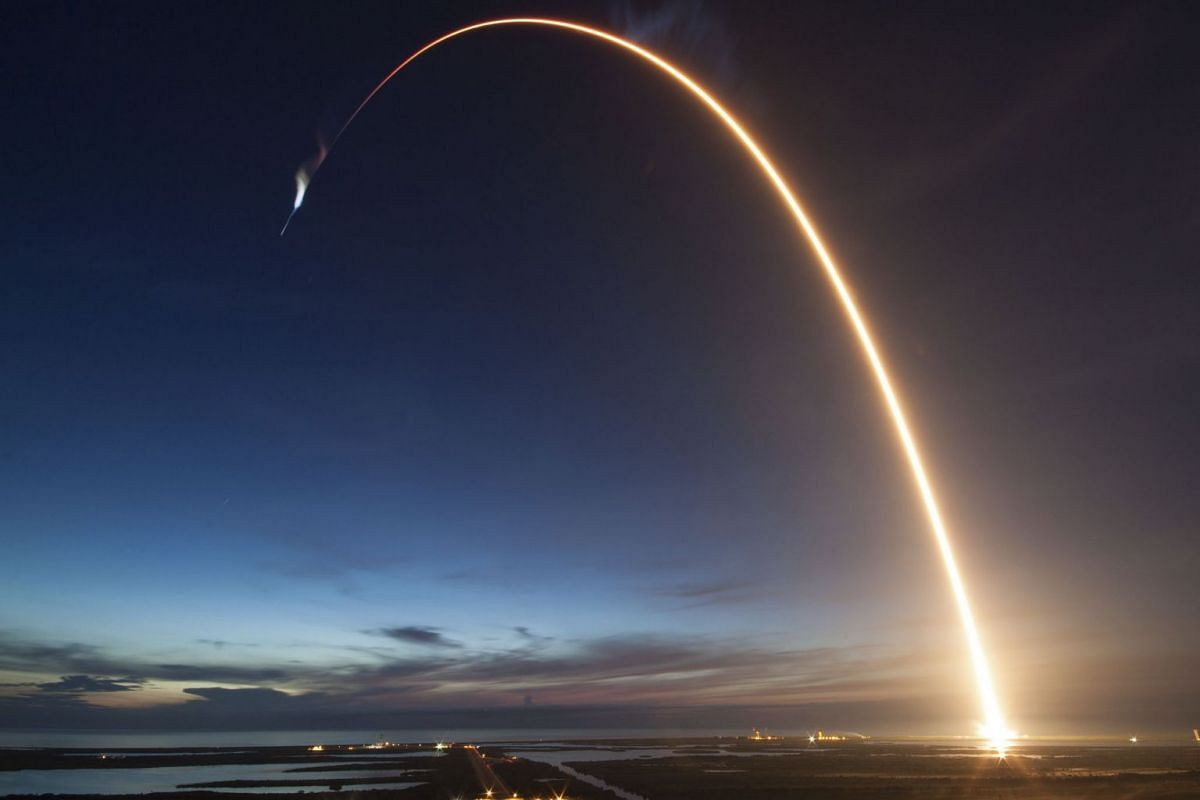 This SpaceX photo obtained from NASA on July 1, 2018 shows at 5:42 a.m. EDT June 29, 2018, SpaceX's Dragon spacecraft as it lifted off on a Falcon 9 rocket from Space Launch Complex 40 at Cape Canaveral Air Force Station in Florida on June 29, 2018.