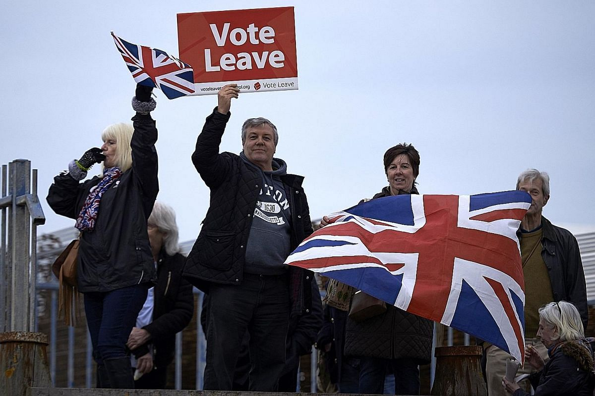 The European Union flag with one of the stars symbolically cut out. It is two years since Britons voted to break up with the EU and the country remains deeply divided over the best exit strategy, and whether it should reverse course. Tens of thousand