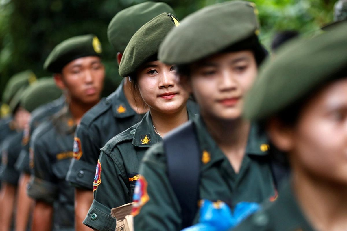 Female Thai soldiers near the Tham Luang cave complex, during the search for members of an under-16 soccer team and their coach in the northern province of Chiang Rai, Thailand, on June 30, 2018.