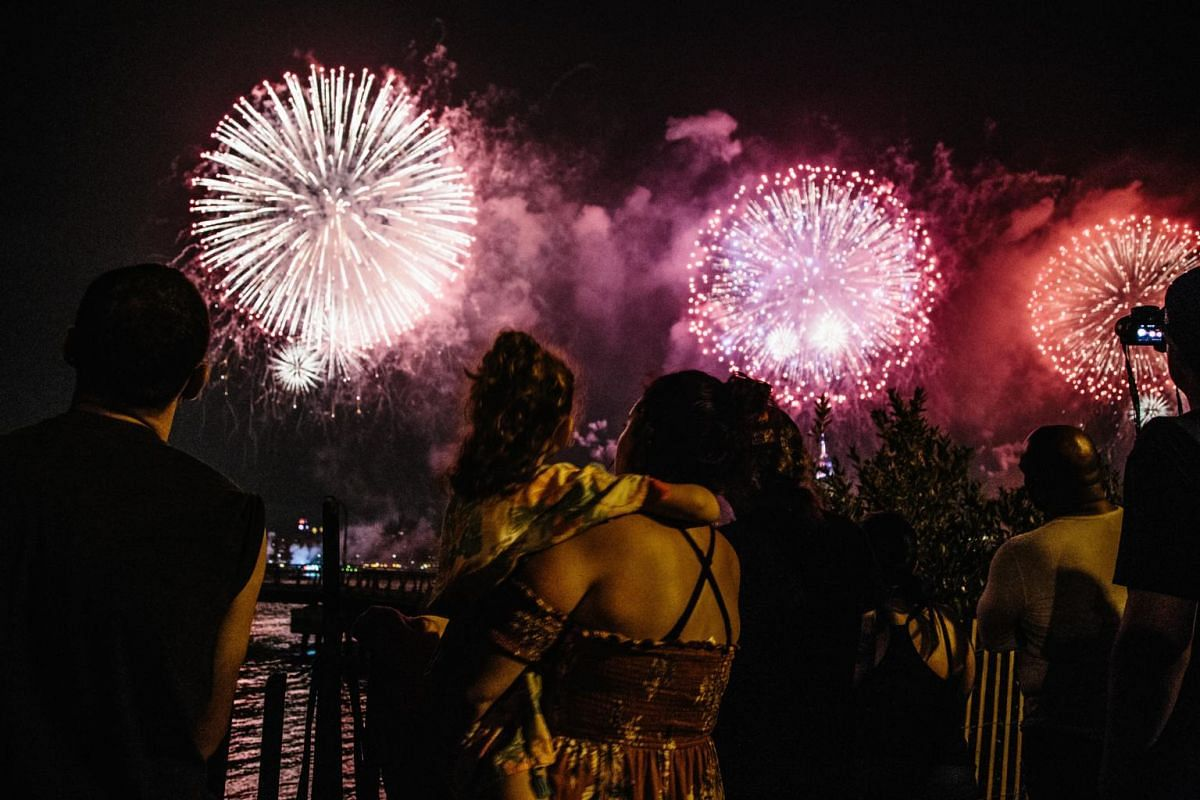 Fireworks explode over the East River as part of an Independence Day celebration in New York, July 4, 2018. The annual holiday marks the day in 1776 when the United States declared independence as a sovereign nation.