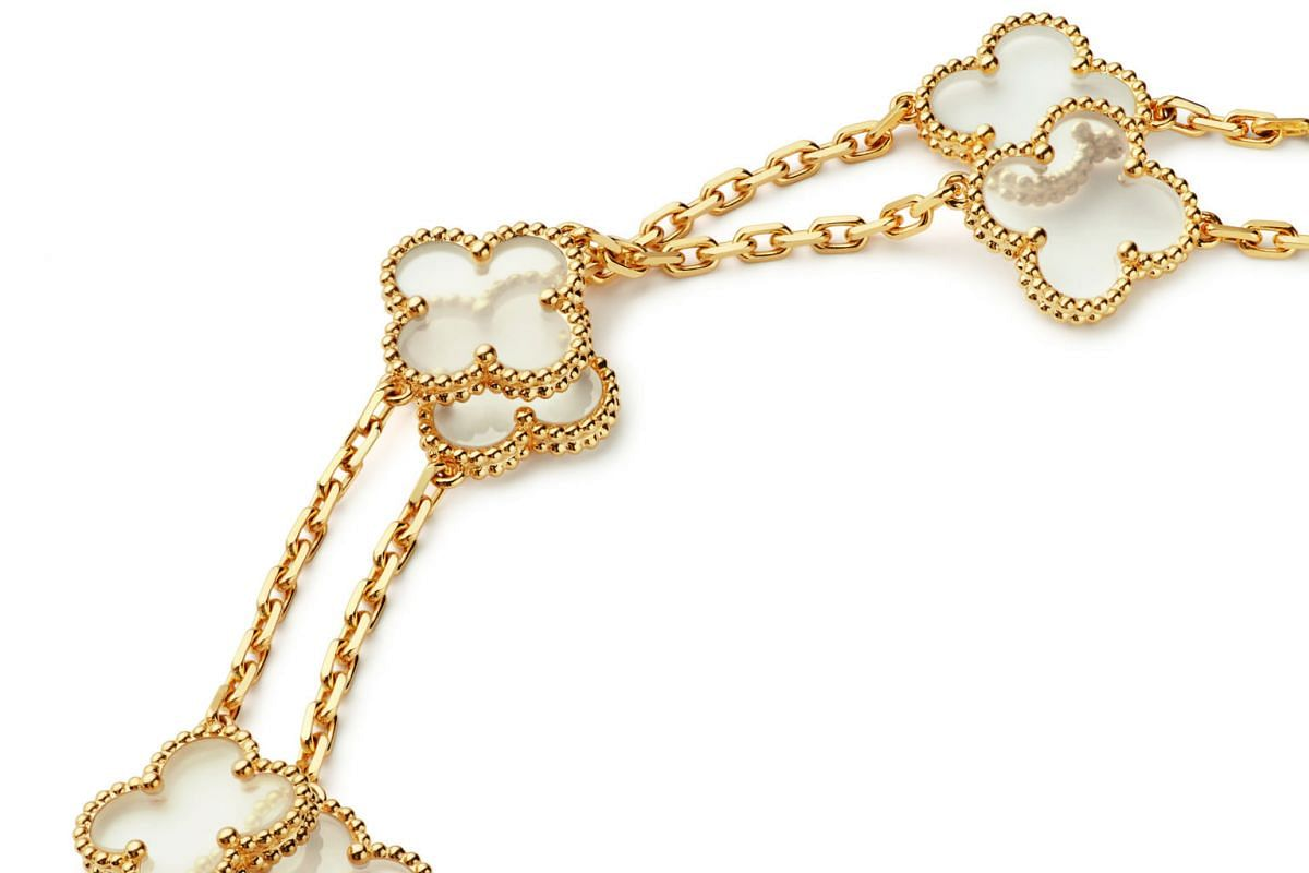 Fans of the Alhambra design have included Princess Grace of Monaco. Van Cleef & Arpels's Alhambra design has appeared in many forms, including earrings, bracelets, rings and bejewelled watches, created with malachite, tiger's eye, onyx and turquoise,