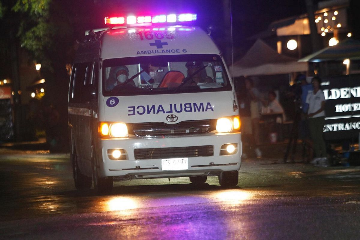 An ambulance arriving at the hospital from Tham Luang cave, after several members of the youth football team were rescued, on July 8, 2018.