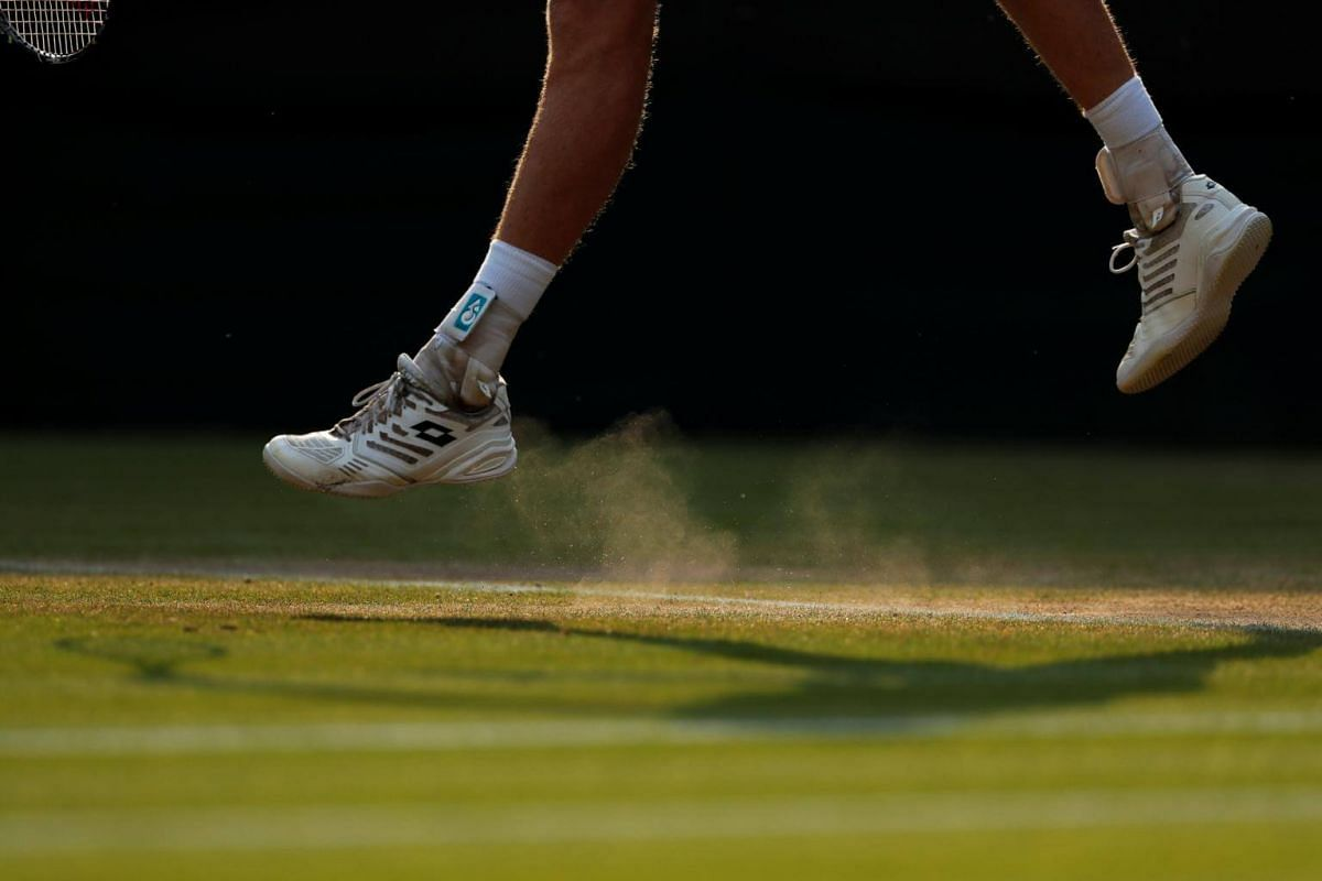 South Africa's Kevin Anderson in action during his fourth round match during Wimbledon at the All England Lawn Tennis and Croquet Club in London, on July 9, 2018.