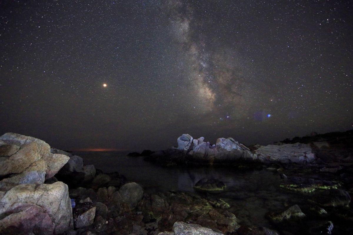 The Milky Way, seen from a beach in the Sardinia island, Italy, on July 9, 2018.