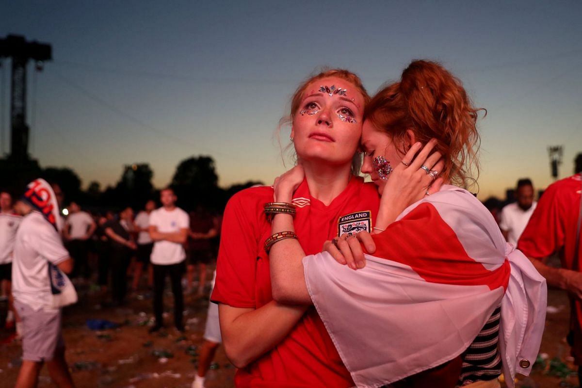 England fans look dejected after watching the match World Cup match against Croatia at Hyde Park, London, Britian on July 11, 2018.