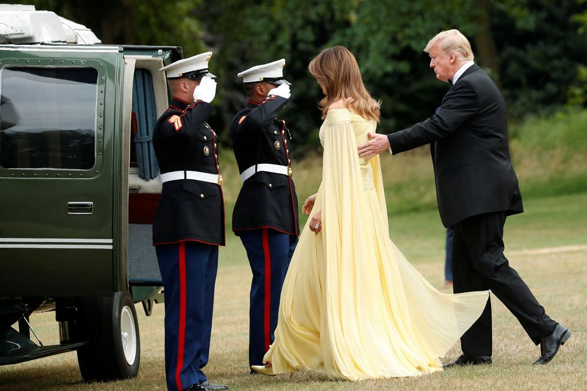 US President Donald Trump and US First Lady Melania Trump board Marine One in London for a trip to Blenheim Palace, to attend a gala dinner with Prime Minister Theresa May on July 12, 2018.