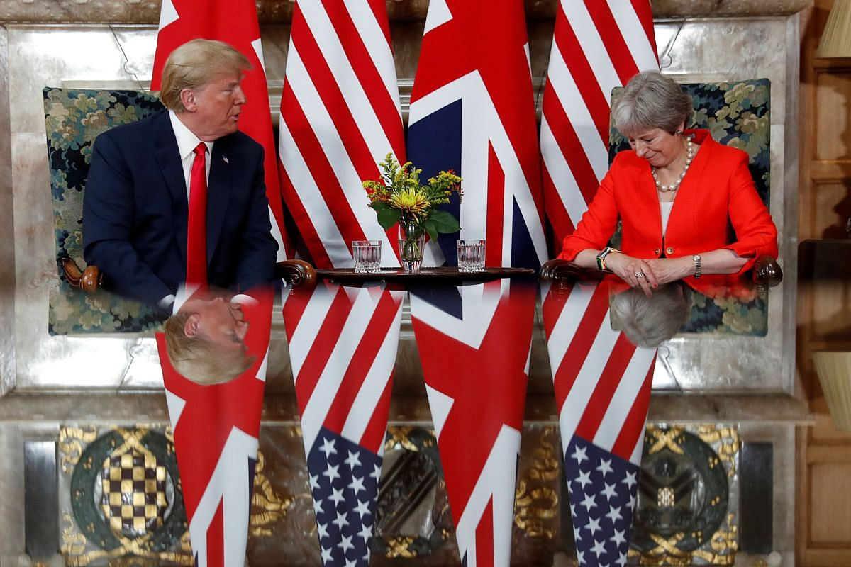 US President Donald Trump and Britain's Prime Minister Theresa meet at Chequers, the official country residence of the Prime Minister, on July 13, 2018.