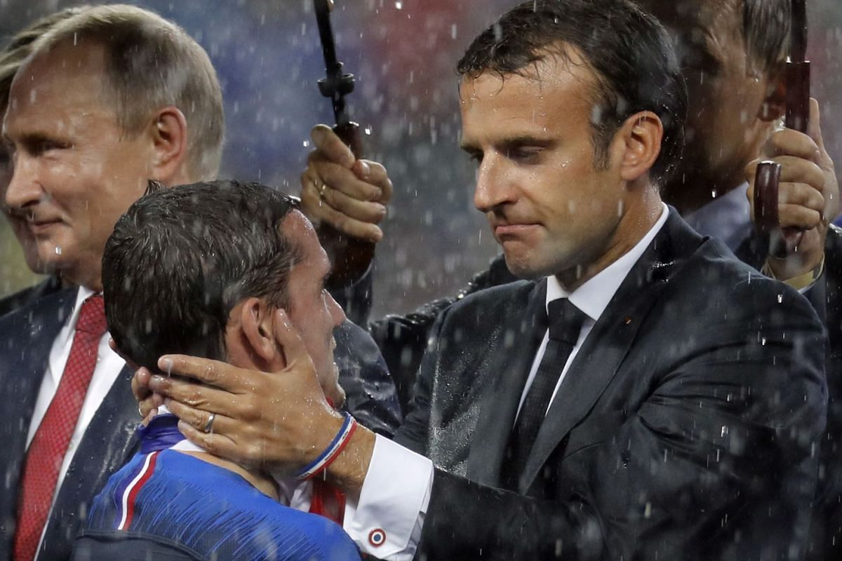 French president Emmanuel Macron (right) greeting Antoine Griezmann of France after the FIFA World Cup 2018 final between France and Croatia, in which France won the match 4-2, in Moscow, Russia, on July 15, 2018.