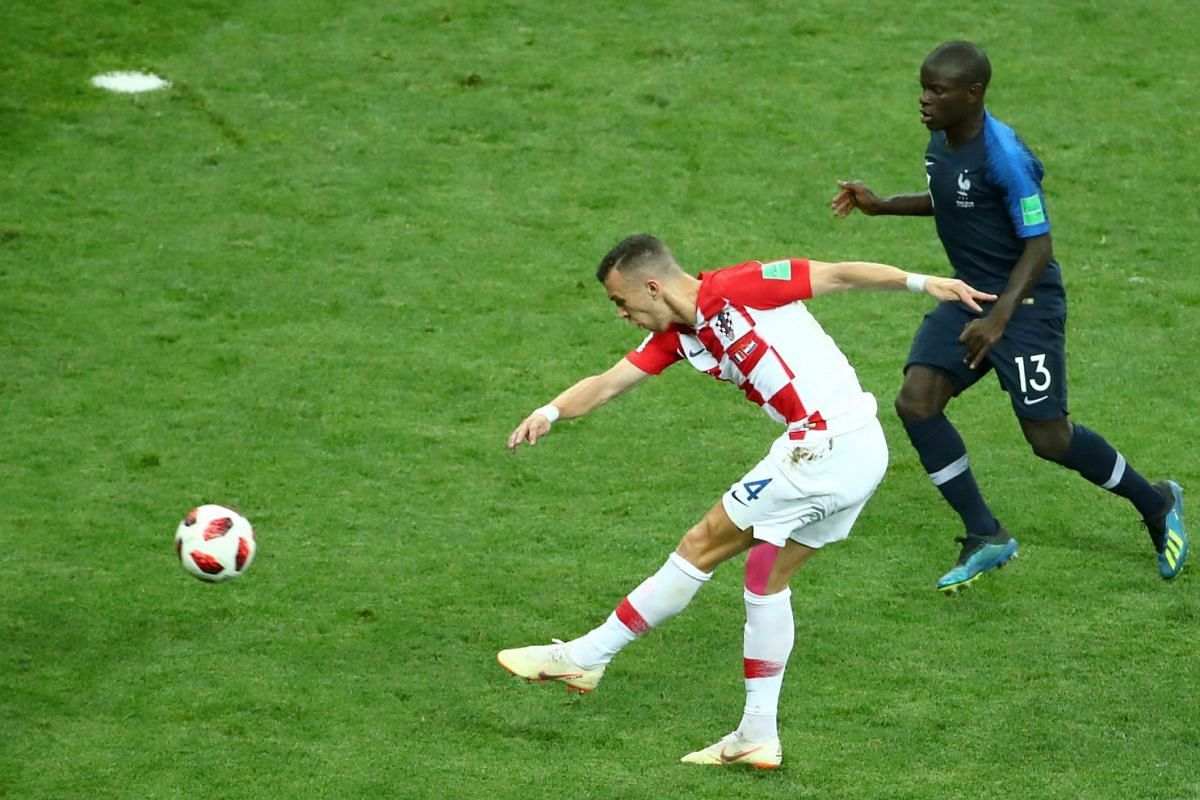 Ivan Perisic scores first goal for Croatia during the World Cup final football match against France in Moscow, on July 15, 2018.
