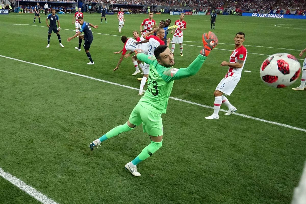 Croatia's Mario Mandzukic scores an own goal, which becomes a first for France during the FIFA Russia 2018 World Cup final showdown in the Luzhniki Stadium, Moscow, on July 15, 2018.