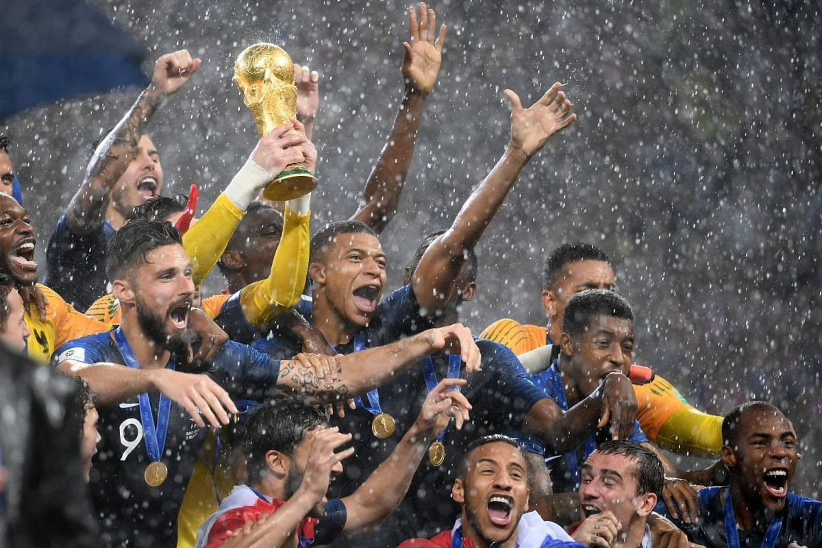 France's players lift the Fifa World Cup trophy after winning the final against Croatia at the Luzhniki Stadium in Moscow, on July 15, 2018.
