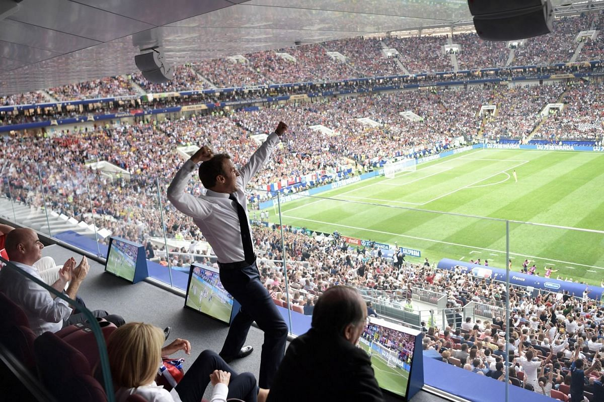 French President Emmanuel Macron (centre) celebrating and cheering the France team on during the FIFA World Cup 2018 final between France and Croatia in Moscow, Russia, on July 15, 2018.