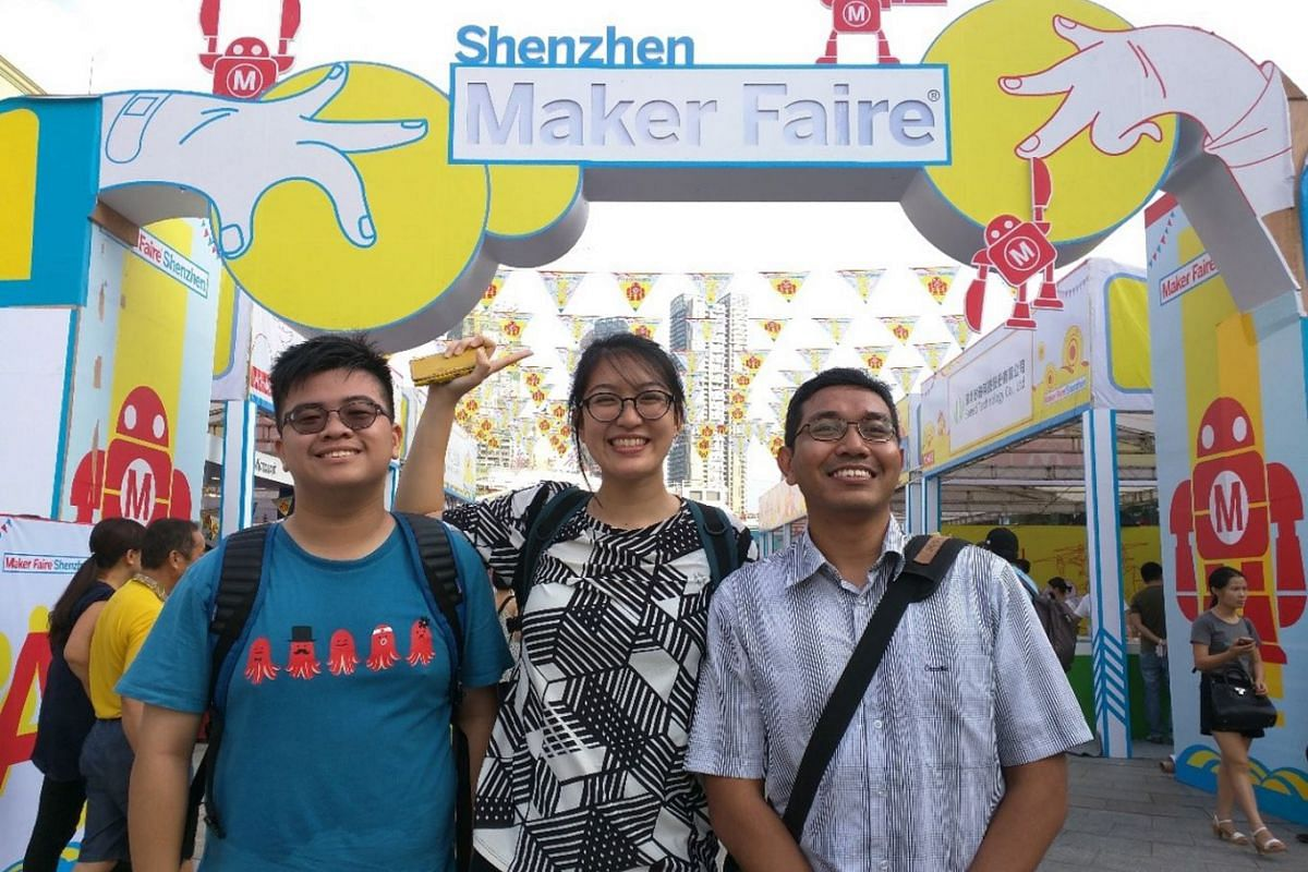 Mr Akmal Abd Rahman (right), 37, co-founder of Tinkercademy, a company that teaches coding and tinkering to schools, corporations and the public in Singapore. PHOTO: COURTESY OF AKMAL ABD RAHMAN
