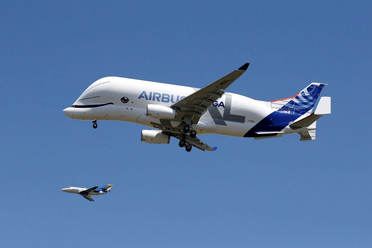 An Airbus Beluga XL transport plane flies during its first flight event in Colomiers near Toulouse, France, July 19, 2018. PHOTO: REUTERS
