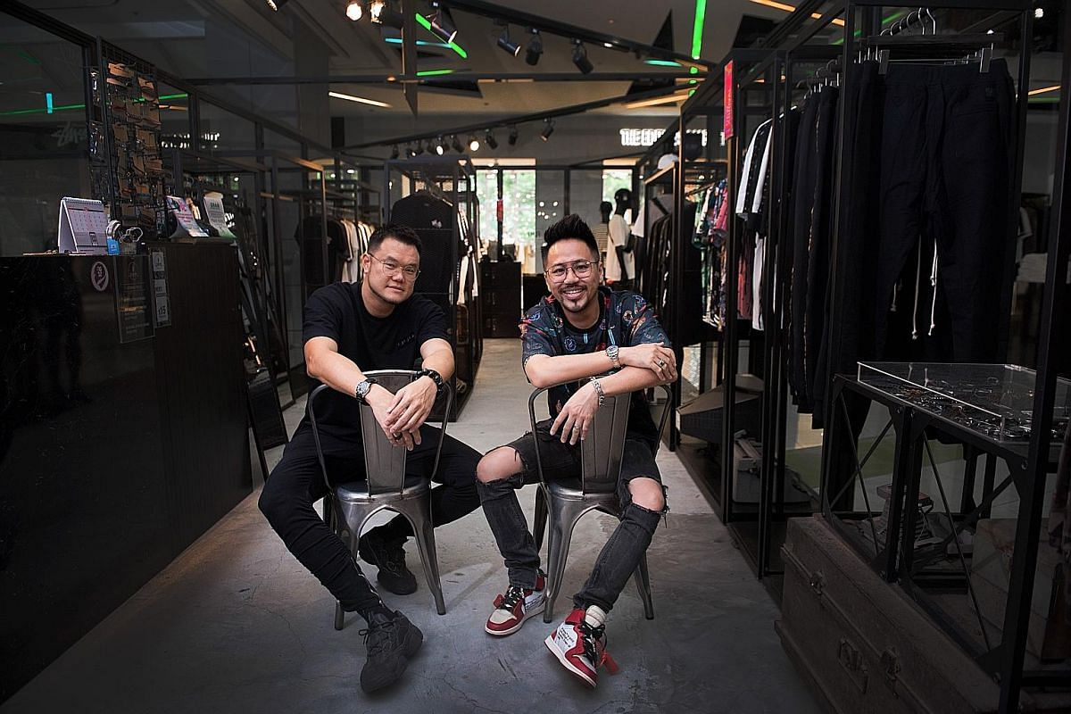 Flesh Imp founders Vincent Quek (left) and Nicholas Cho at the label's flagship store in Cineleisure Orchard.