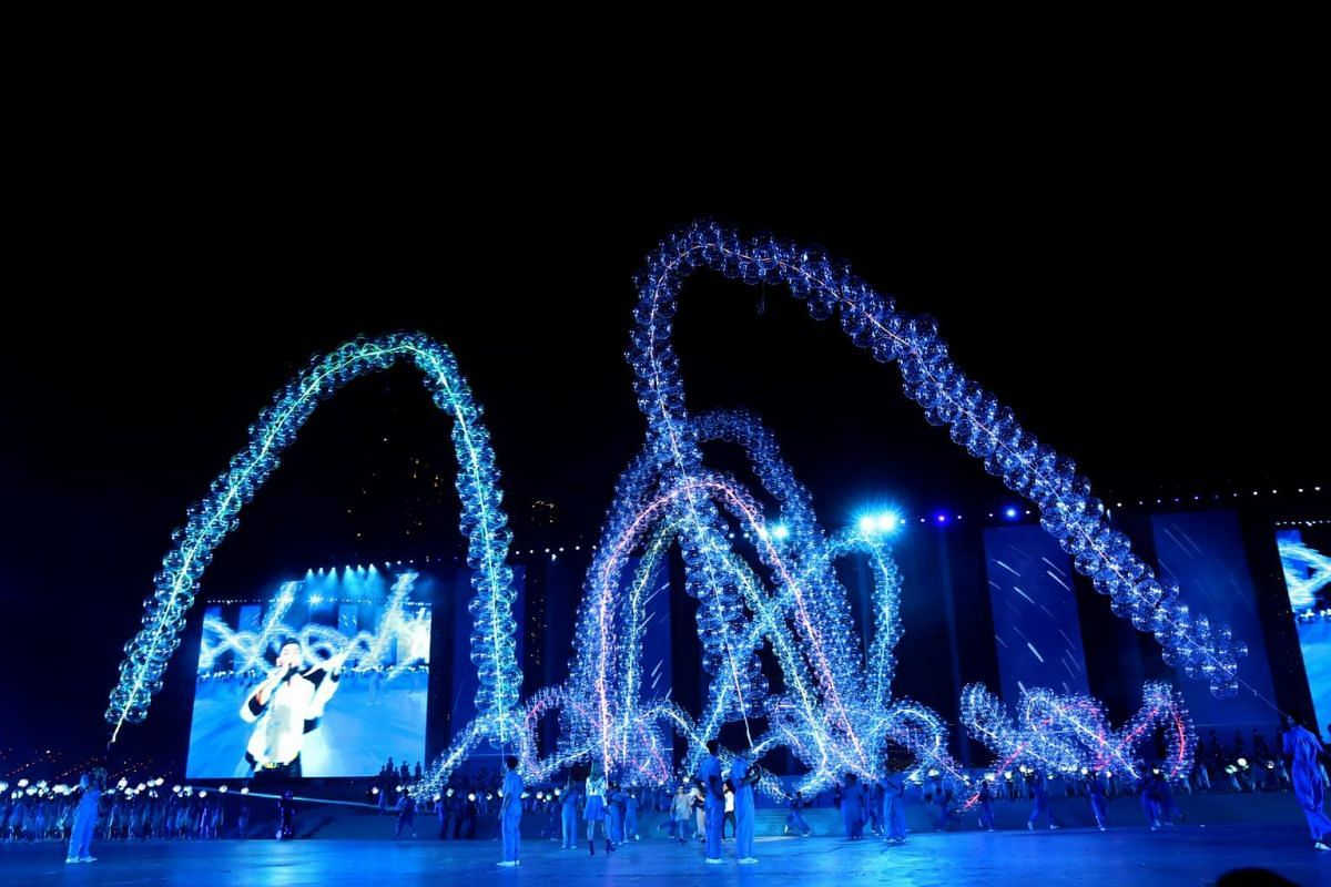Our Hopes, Our Aspirations (Act 2): A visual spectacle of lanterns and 18m-long balloon garlands, as well as a water procession of 18 boats and floats comprising playground designs, during the National Day Parade NE Show 3, on July 21, 2018.