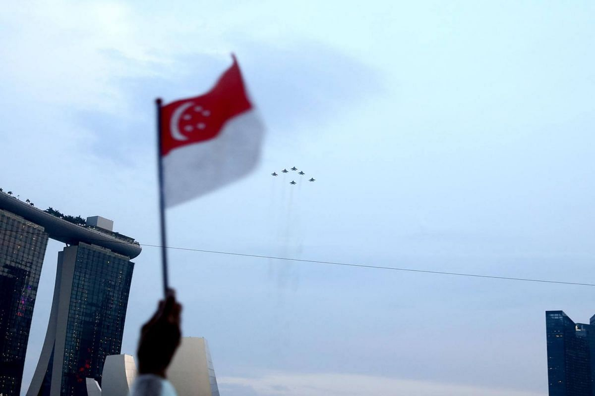 An aerial flypast showcase during the National Day Parade NE show 1, on July 7, 2018.
