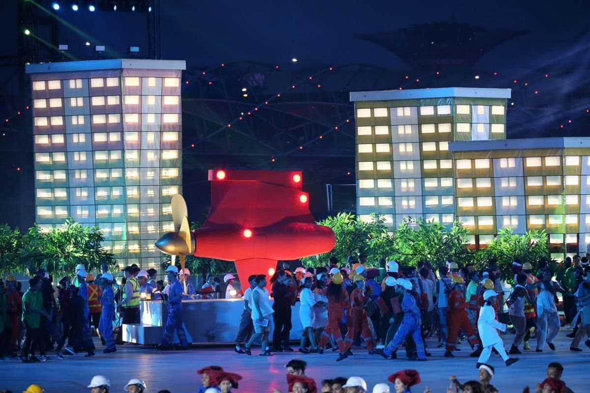 Our People, Our Home (Act 1): A performance featuring 600 ITE students and 200 participants from the labour force that depicts people from diverse backgrounds working together to forge Singapore's future, during the National Day Parade NE show 1, on