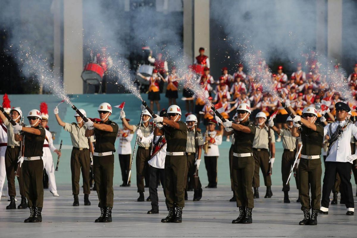 The SAF Precision Drill Squad performing during the National Day Parade NE Show 3, on July 21, 2018.