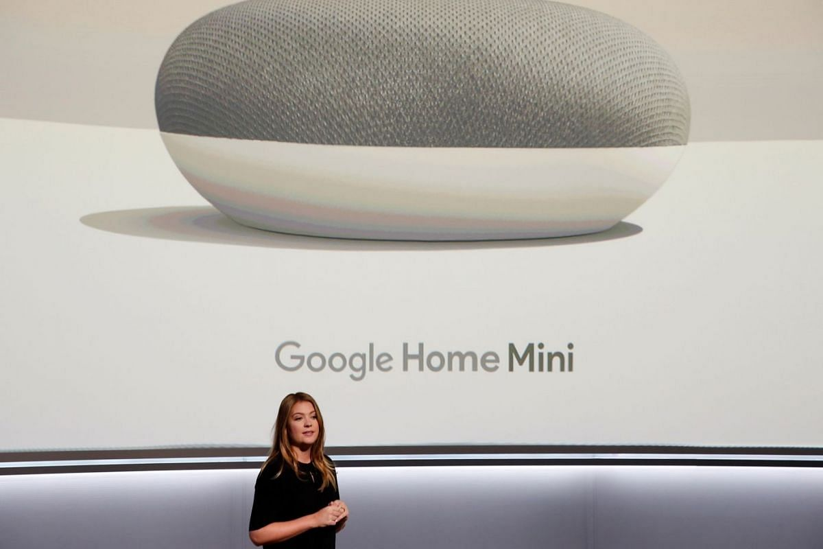 File photo showing Isabelle Olsson, Google's Head of Industrial Design for Home, presenting the Google Home Mini. The recent introduction of smart speakers have triggered a lot of interest in smart homes among consumers and manufacturers.