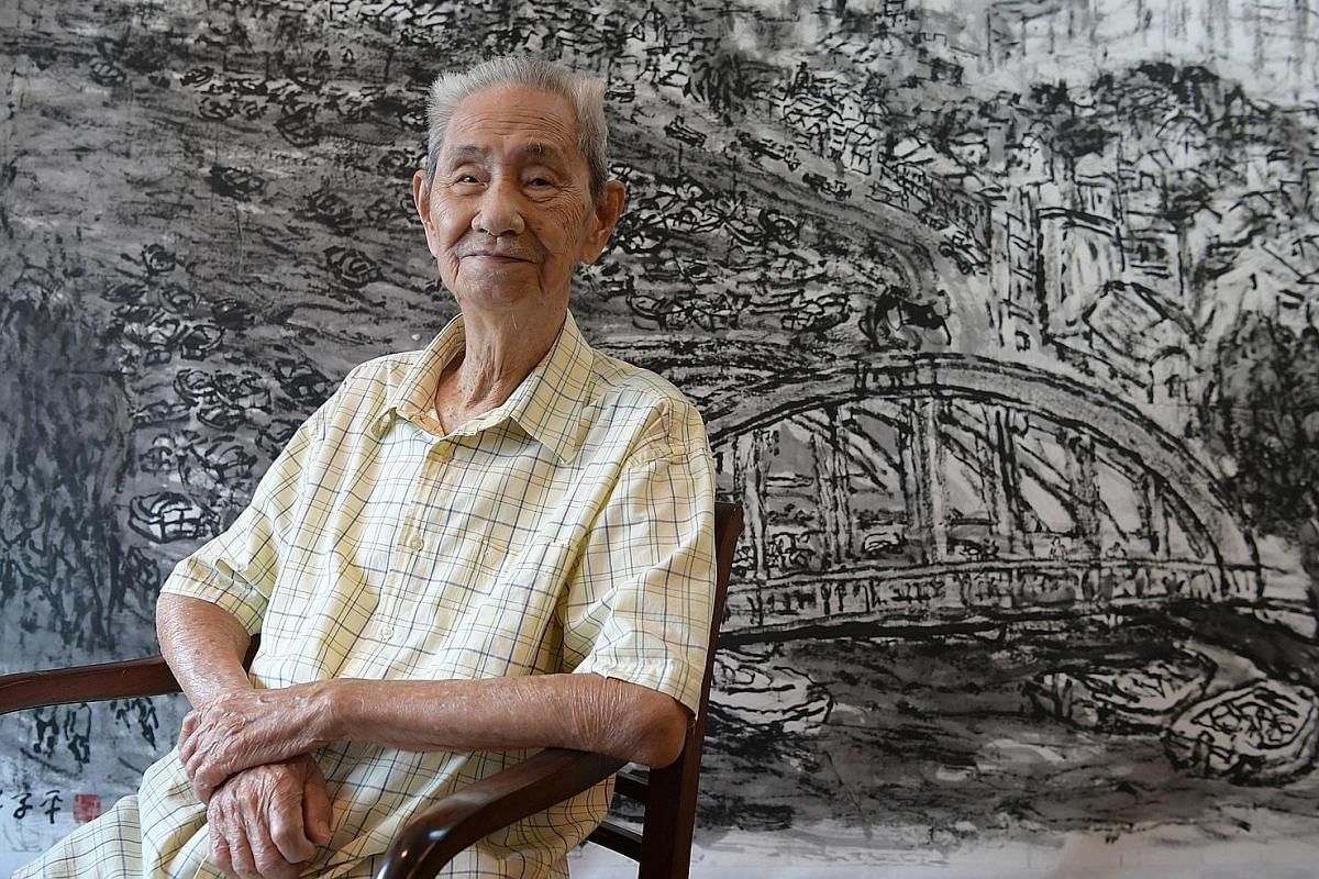 Lim Tze Peng is the subject of two exhibitions, which showcase a wide body of his works spanning his iconic paintings, which evoke a lost Singapore, to his more recent abstract calligraphy.