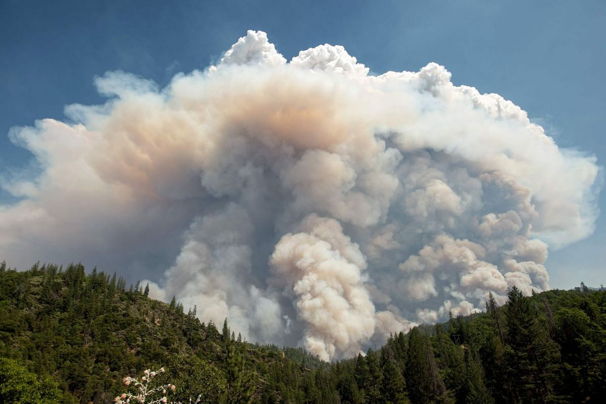 A huge cloud of fire heads upwards during the Carr Fire near Redding, California, on July 27, 2018.