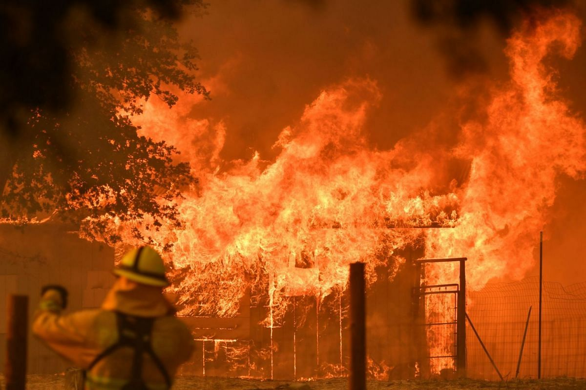 A firefighter watches as a building burns during the Mendocino Complex fire in Lakeport, California, on July 30, 2018. PHOTO: AFP