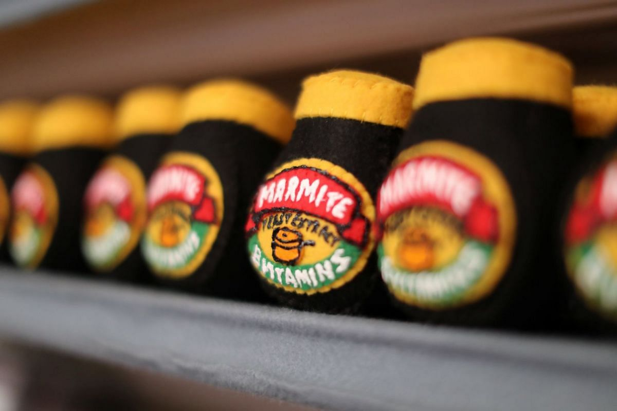 Marmite made from felt is seen at the art installation of British artist Lucy Sparrow, 32, in Los Angeles, on July 31, 2018.