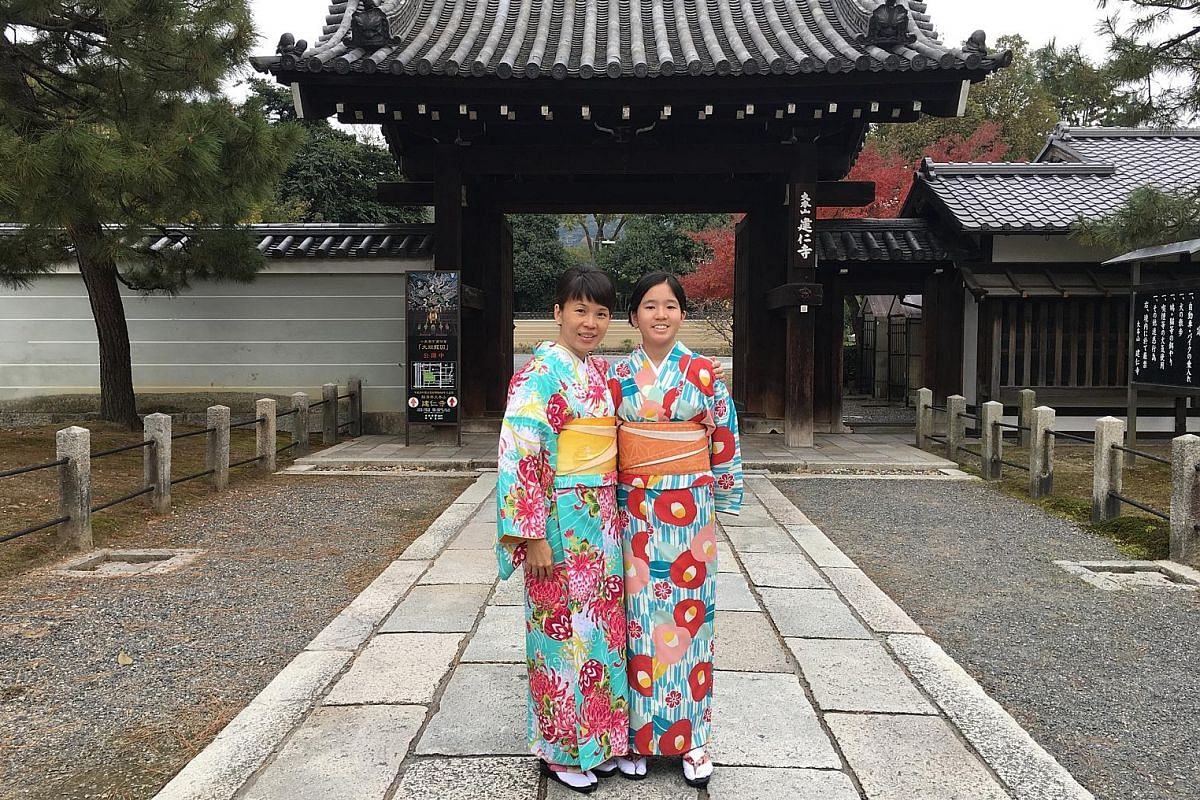 Student Kymberly Tay wore a kimono in Japan with her mother Glenice Toh and, in return, Ms Toh took a roller-coaster ride with her at Universal Studios Japan.