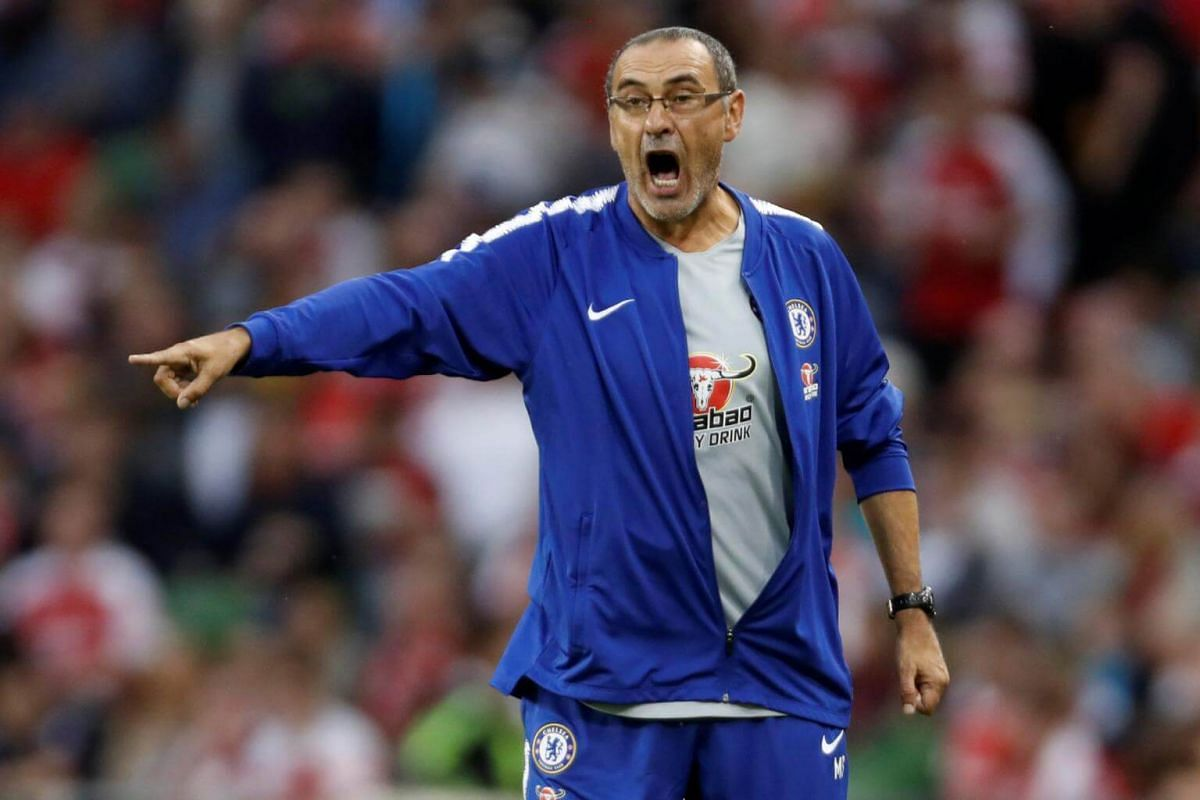 Chelsea manager Maurizio Sarri in action at the International Champions Cup in Dublin, Ireland, on Aug 1, 2018.