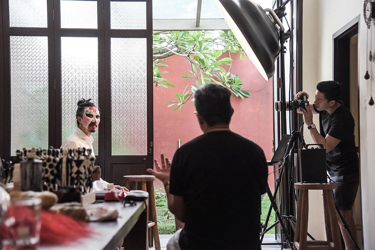 "Every photo shoot produces six to 20 portraits, depending on the make-up, props and styling. Mr Yang lists down and groups his various looks for the day depending on the complexity of the make-up. ""Everyone is happy to chip in, touch up the make-up o"