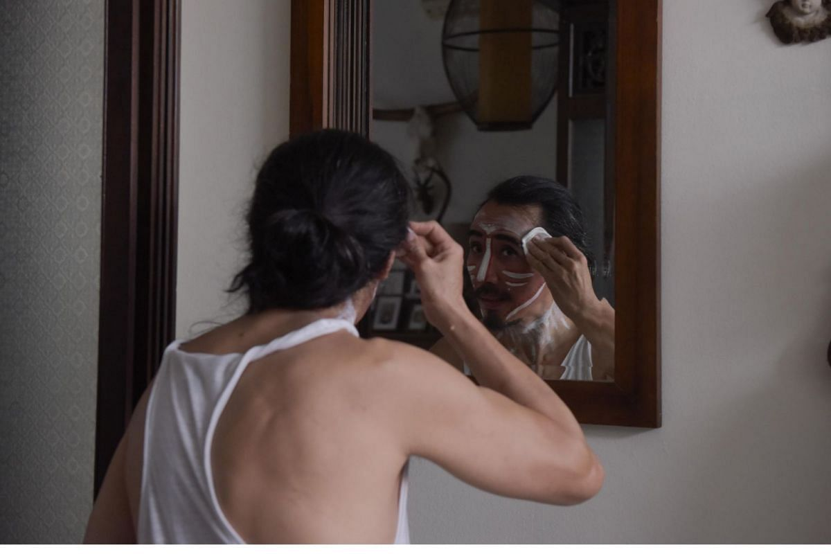 Mr Yang's biggest challenge is removing his make-up after his shoots. He recalls an occasion when he had his body painted blue and did not have sufficient time to fully clean up before a dinner appointment. He ended up attending it with patches of bl