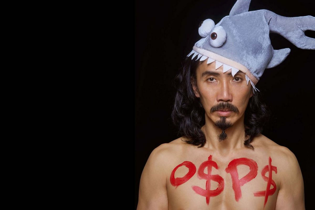 Mr Yang's various costumes include: An outfit to educate people on the dangers of modern loan sharks.