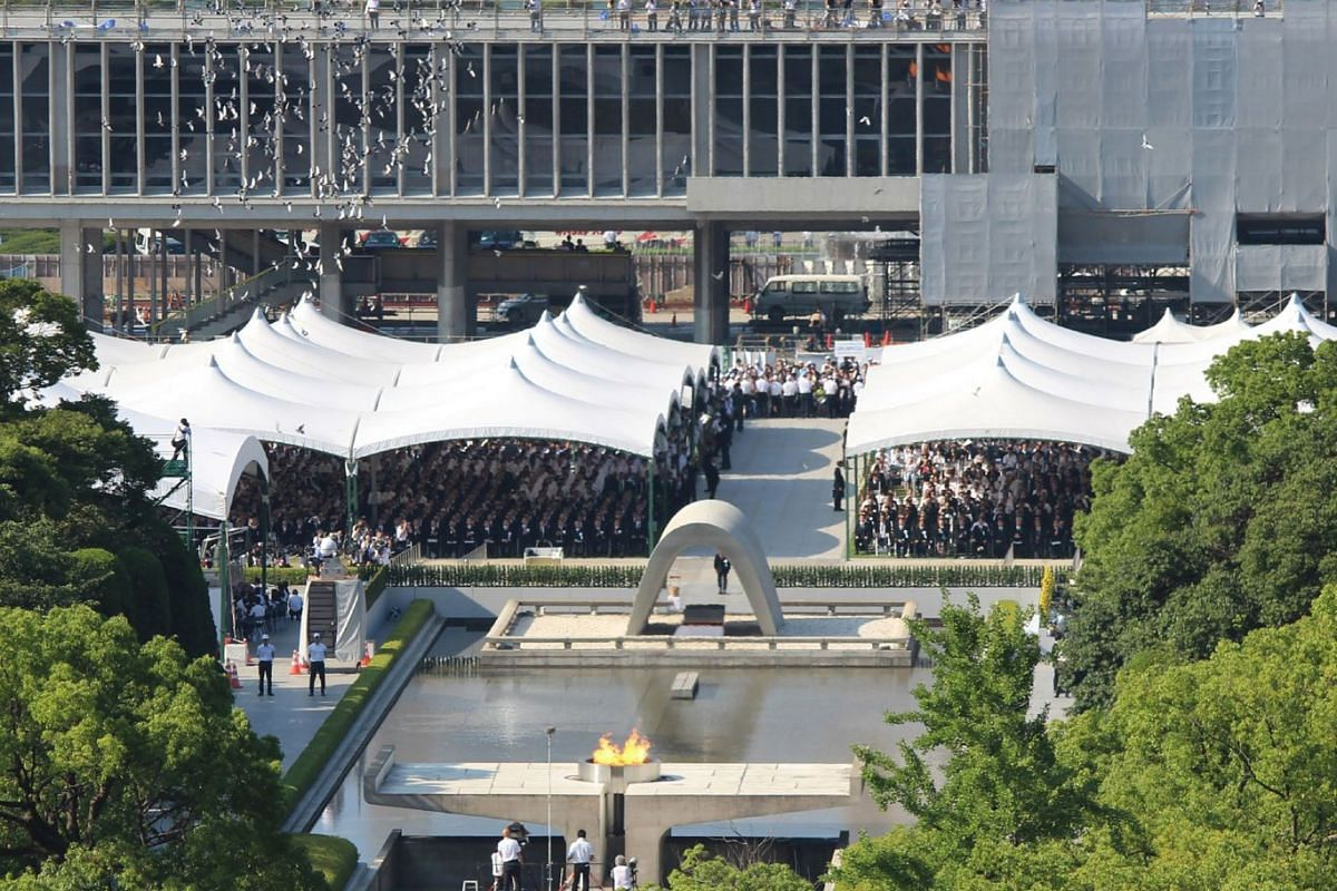 A general view of the Peace Memorial Park (centre) as people attend the 73rd anniversary memorial service for the atomic bomb victims in Hiroshima on Aug 6, 2018.