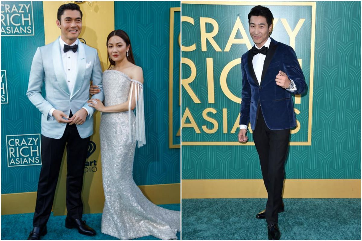 Henry Golding and Constance Wu (left) and Chris Pang attend the premiere of Crazy Rich Asians in Hollywood on Aug 7, 2018.