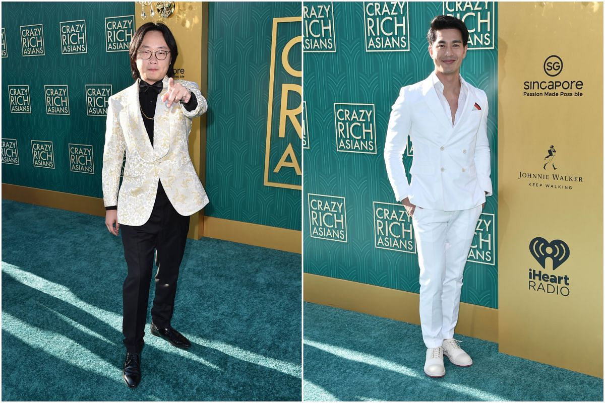 Jimmy O Yang (left) and Pierre Png attend the premiere of Crazy Rich Asians at the TCL Chinese Theatre IMAX in Hollywood, California on Aug 7, 2018.