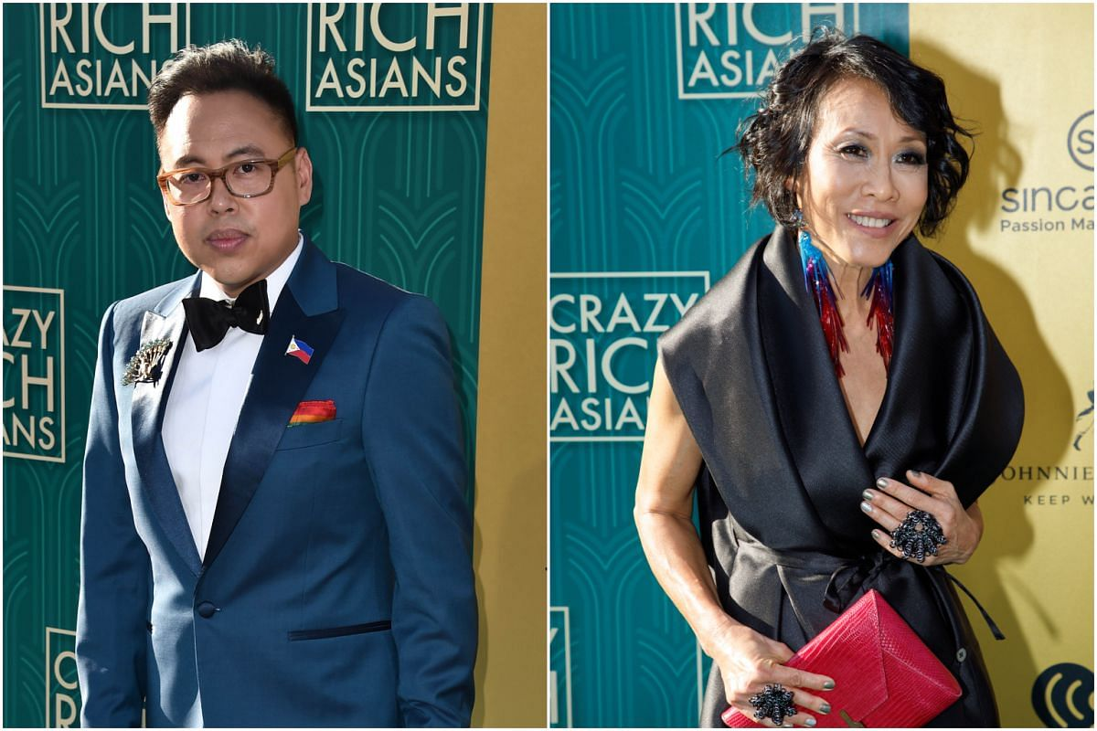 Nico Santos (left) and Singaporean cast member Tan Kheng Hua attend the US premiere of Crazy Rich Asians at the TCL Chinese Theatre IMAX in Hollywood, California, on Aug 7, 2018.