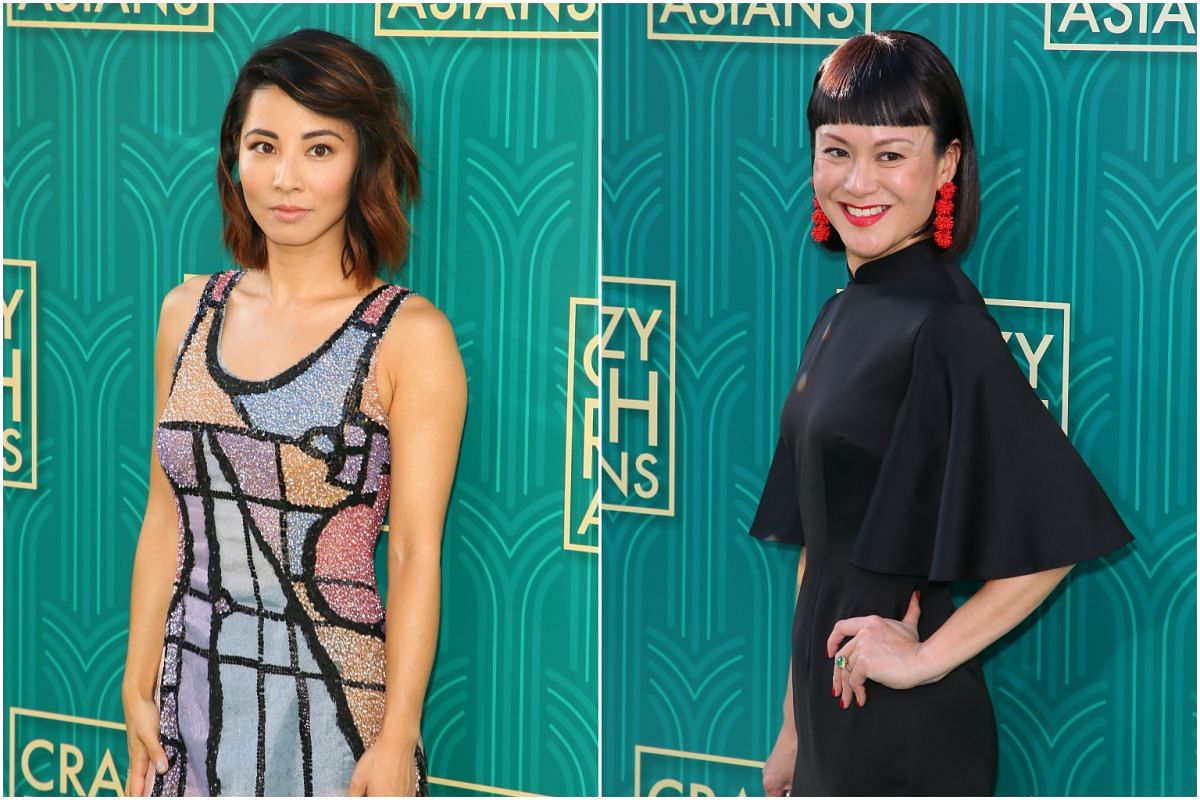 Actresses Jing Lusi (left) and Janice Koh attend the premiere of Crazy Rich Asians in Hollywood, California, on Aug 7, 2018.