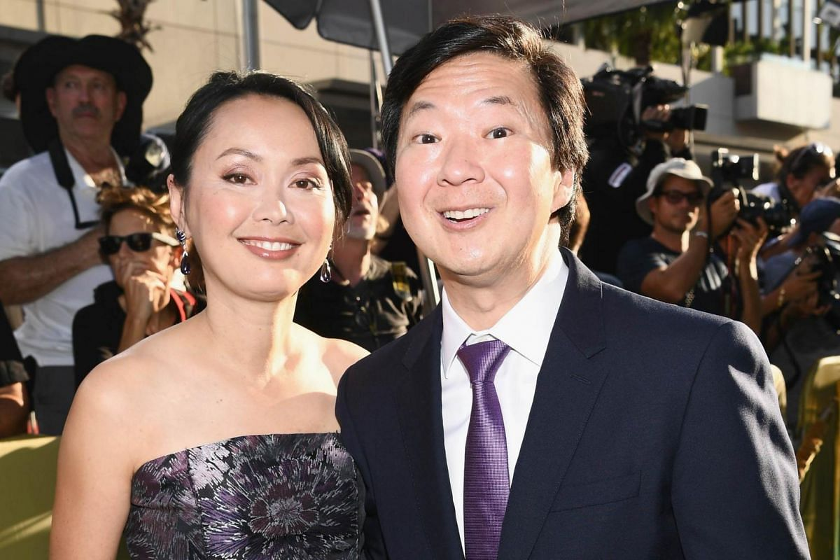 Tran Jeong and comedian Ken Jeong arrive at the Crazy Rich Asians Premiere at TCL Chinese Theatre IMAX in Hollywood, California, on Aug 7, 2018.