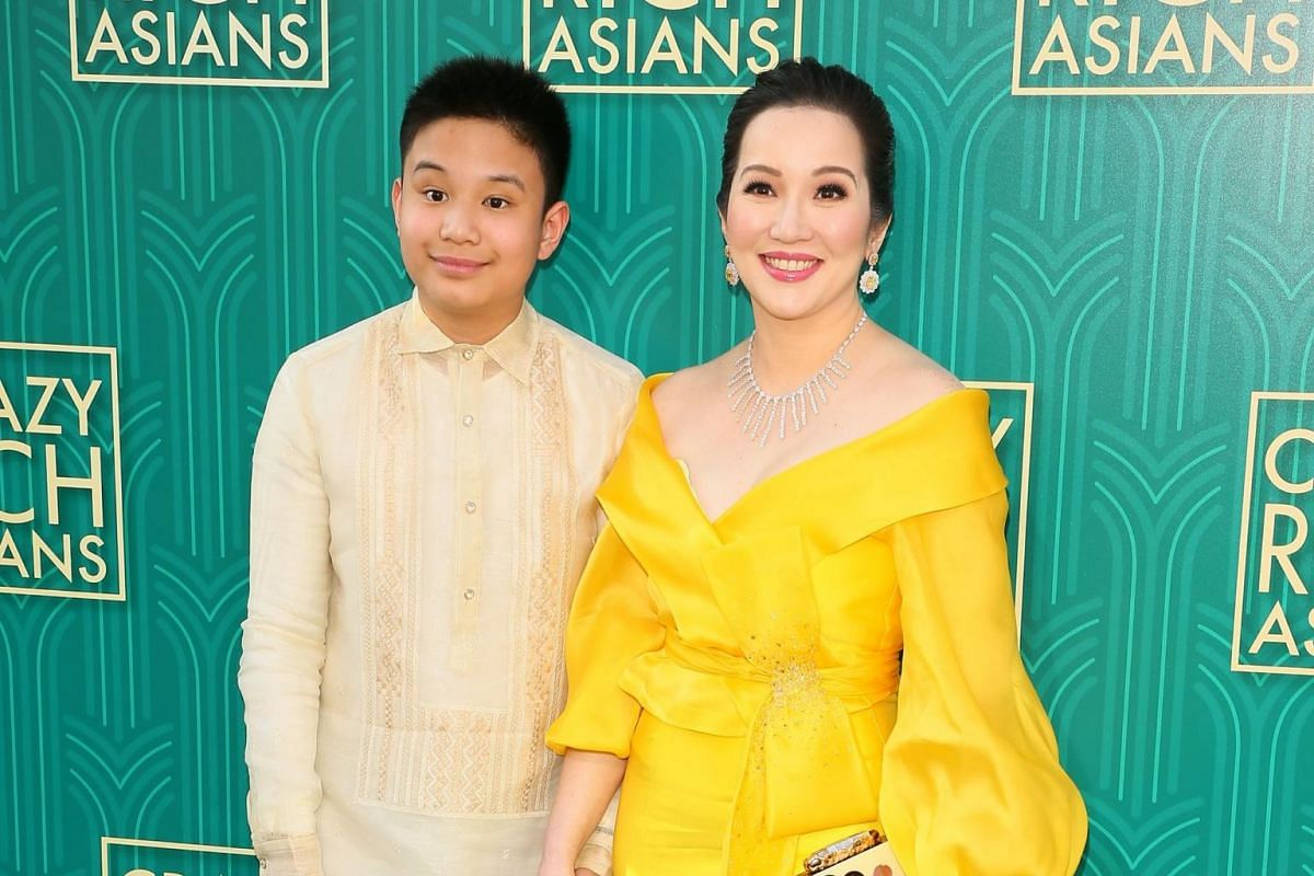Actress Kris Aquino (right) and her son actor Bimby Aquino Yap attend the premiere of Crazy Rich Asians in Hollywood, California, on Aug 7, 2018.