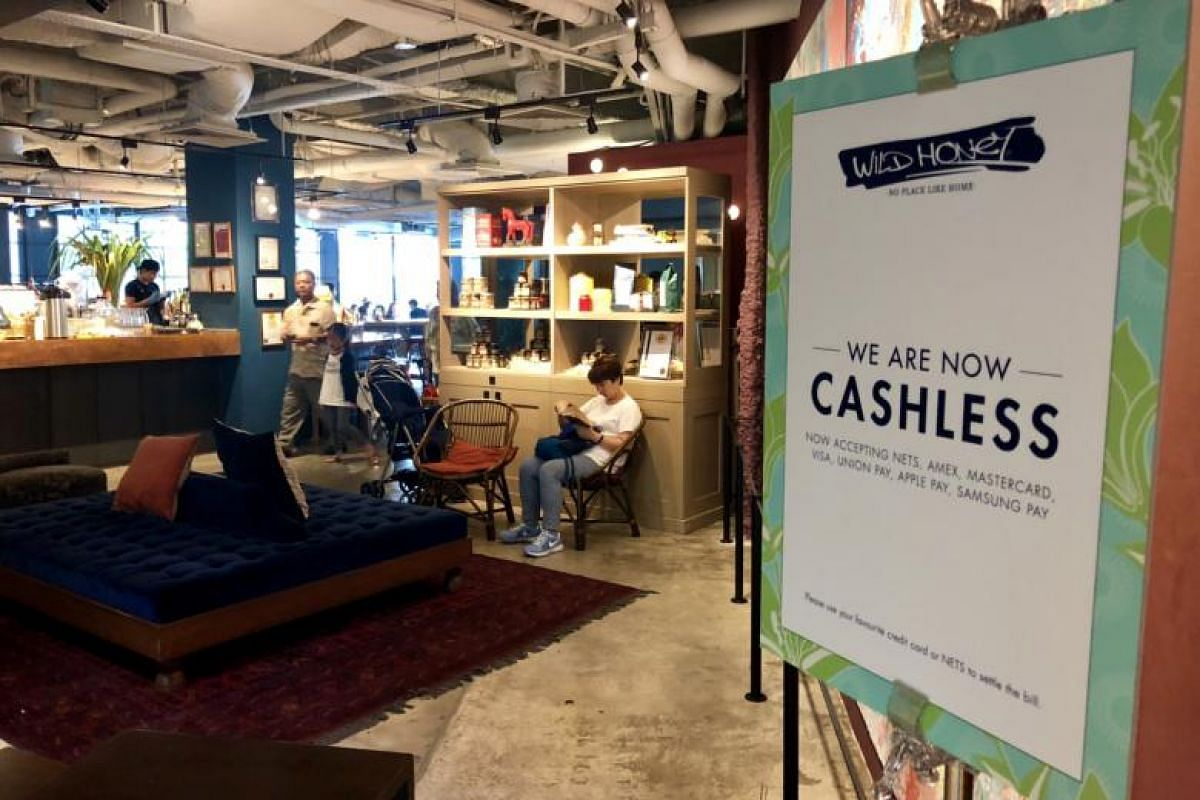 Another cafe, Wild Honey, has also eliminated the use of cash at its outlets at Scotts Square and the Mandarin Gallery.