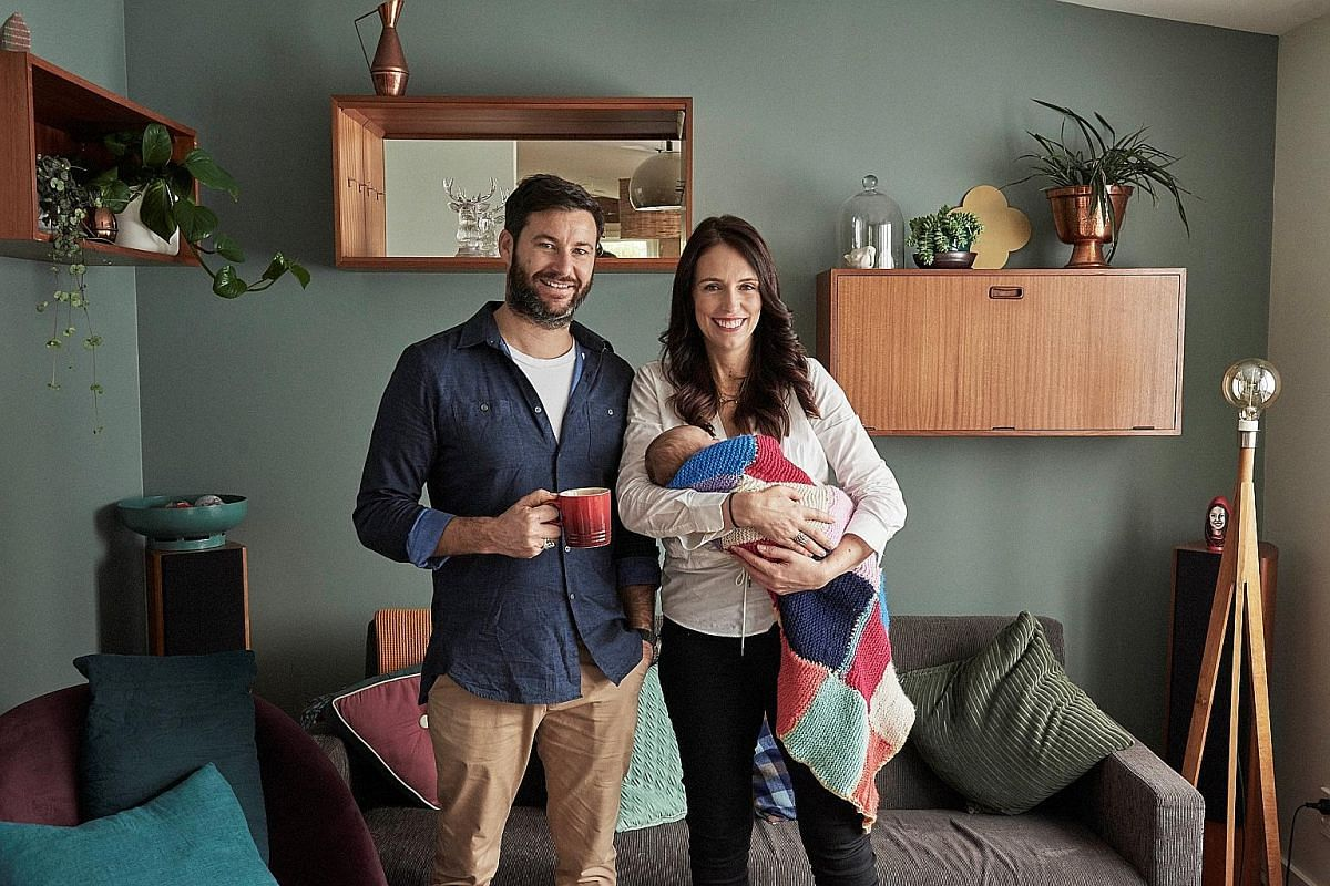 New Zealand Prime Minister Jacinda Ardern and her partner Clarke Gayford, who will be the main caregiver for their newborn daughter.