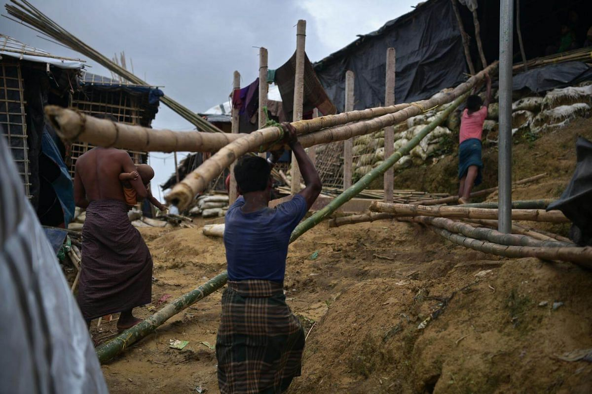 Rohingya men collecting bamboo to build new shelters at the Balukhali camp, on July 21, 2017.