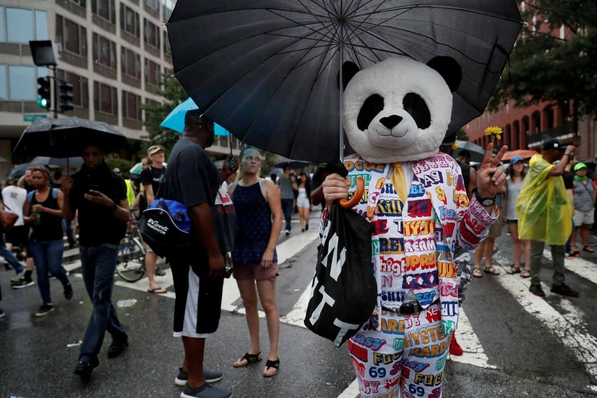 "A person wearing a panda mask poses for photos during a white nationalist-led rally marking the one-year anniversary of the 2017 Charlottesville ""Unite the Right"" protests, in downtown Washington, on Aug 12, 2018."