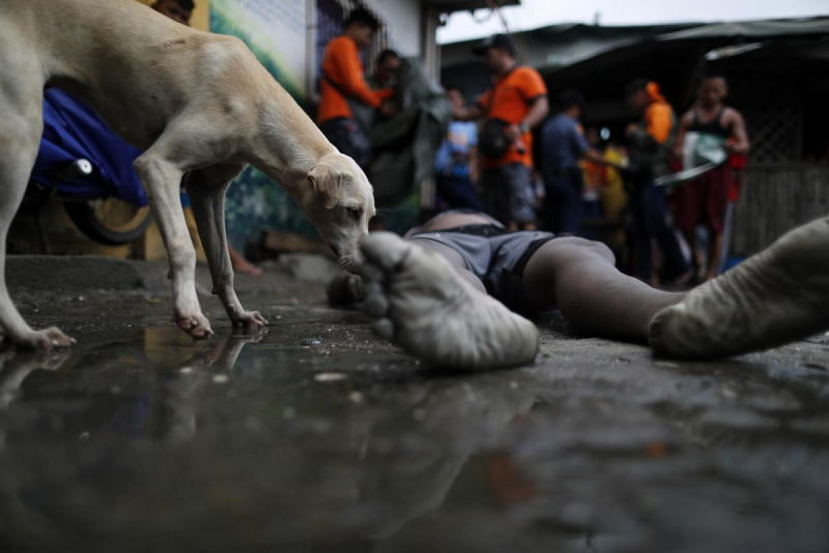 Filipino rescuers and a dog are seen next to a recovered victim during a rescue operation in Manila Bay, Philippines on 13 Aug, 2018. At least three people have died while one was missing in the aftermath of the  floods created by the tropical storm,