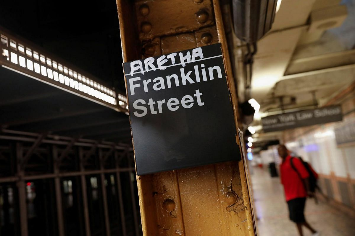 The name of Aretha is posted above the Franklin Street subway station in memory of singer Aretha Franklin in Manhattan, New York, US, on Aug 16, 2018.