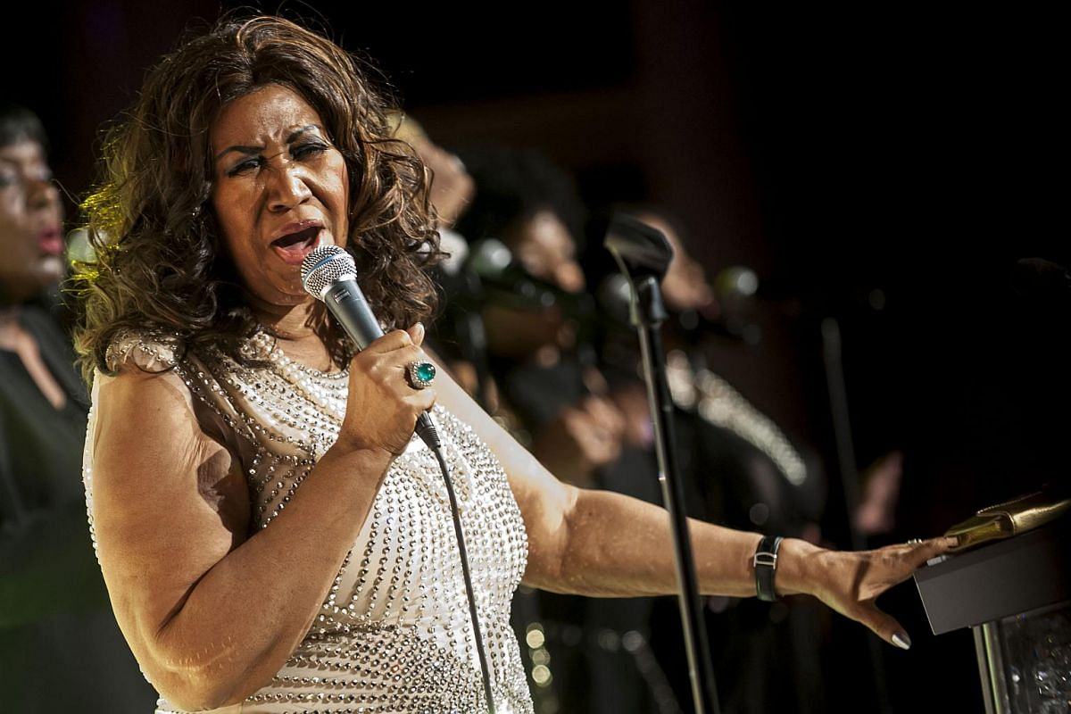 Aretha Franklin performs in New York, on Oct 22, 2013.