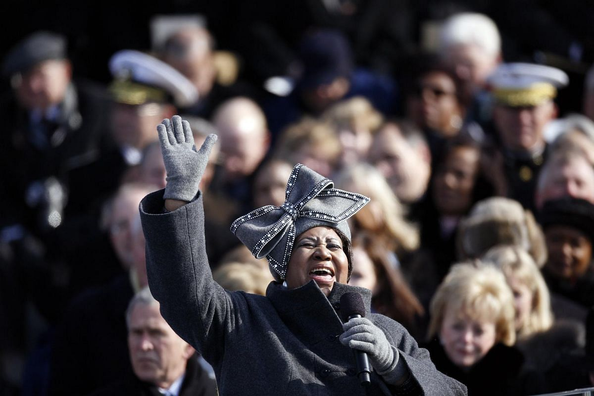 Aretha Franklin singing America The Beautiful at President Barack Obama's inauguration in Washington, on Jan 20, 2009.